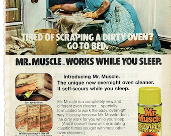 1974 Advertisement Charlotte Rae for Mr. Muscle Oven Cleaner Facts of Life Mrs Garrett 70s Housewife Dirty Oven Celebrity Before Wall Art