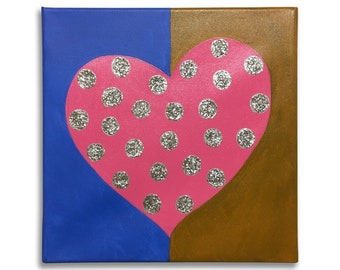 Home decor-framework abstract-framework with hearts-painting on canvas-painting with glitter-painting of love-painting-painted on canvas