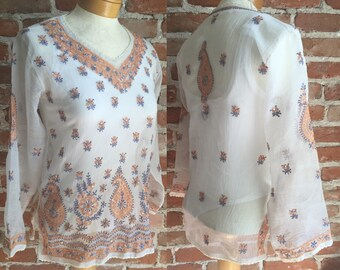 Retro BOHO Sheer White Embroidered Tunic With Paisley & Floral Pattern, Size Small