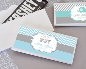 Boy Baby Shower Favors - Boy Baby Shower Candy Bar Wrappers - Personalized Baby Shower Favors Ideas (EB4001MDB) set of 24|