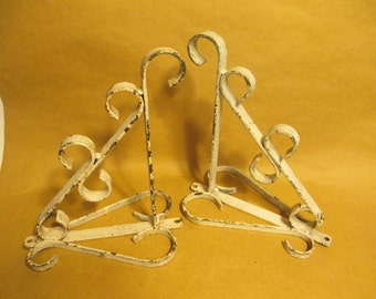 Pair of Chippy White Iron Scroll Shabby Chic Brackets