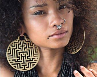 Vedora Gold Hoop Earrings Tribal Jewelry Brass Ear Weights Tribal Earrings Gauges Dangle Plugs Tribal Plugs Tunnels Egyptian Earrings