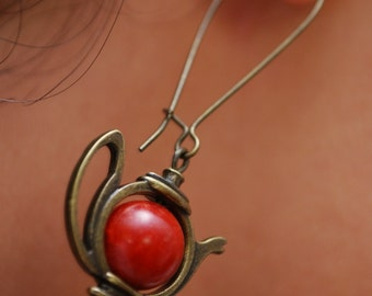 Teapot earrings, red tea earrings, alice in wonderland,  tea party, teapot jewelry, tea pot earrings