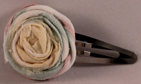 Rosette Fabric Snap Barrettes
