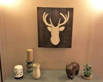 Vertical Deer Wooden Wall Hanging