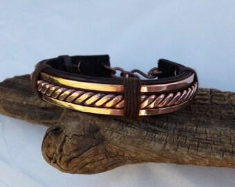 Men's Copper Bracelet,Men's Leather Bracelet,Men's Leather and Copper Bracelet,Copper Bracelet Men,Leather Bracelet Men,ColeTaylorDesigns