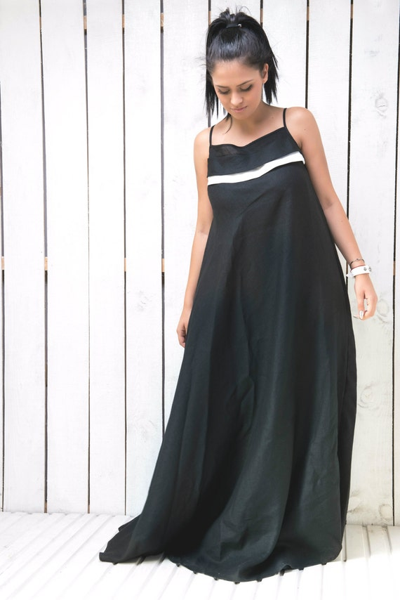 Slip Dress Linen Dress Long Black Dress Maxi Kaftan Plus