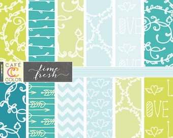 BLUE and GREEN digital paper. Flourishes, chevron, heart, vines and arrow patterns in teal and blue. Birthday decoration, invitation.