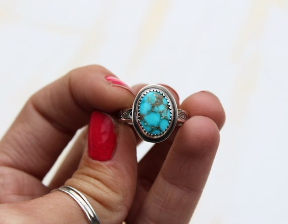 Royston Turquoise Stamped Band Ring- Size 5.5-5.75