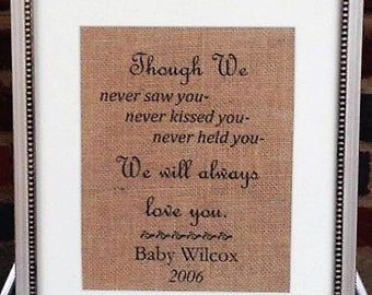 Miscarriage Memorial FRAMED Print - Though We Never Saw You - Pregnancy Loss - Sympathy Gift - Miscarry In Memory of Baby Keepsake - Infant