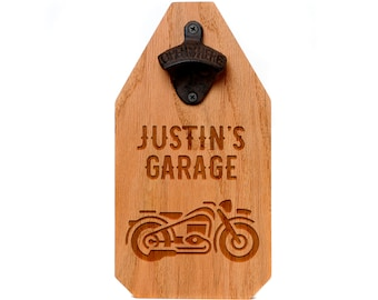 Personalized Motorcycle Wood Sign - Motorcycle Gift for him - Rustic Beer Bottle Opener