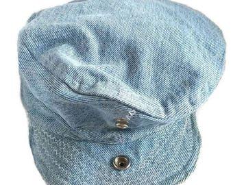 Vintage Denim Railroad Hat Workwear Industrial Style Cap