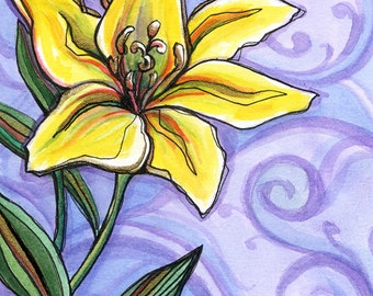 Gilded Lily - 8x8 Original Framed Watercolor of a Yellow Lily with Purple