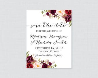 Printable OR Printed Save the Date Cards - Marsala Floral Save the Date Cards for Wedding - Rustic Pink Flower Wedding Save Our Dates 0006