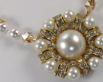 "16 3/4"" Vintage faux pearl, Swarovski pearls, and sparkling rhinestone Bride orMother-of-the Bride necklace"