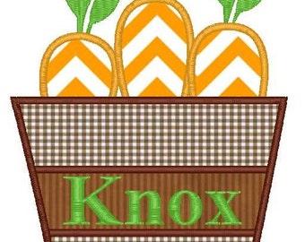 Basket of Carrots Machine Embroidery Applique Design