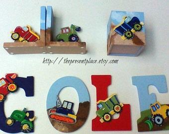 3 piece construction theme gift set, letters, tissue box cover,bookends,construction theme,backhoe,dump truck,boys room decor,boys gift set