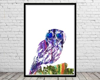 Owl with starry eyes, owl print, bird print, owl, watercolor owl, home decor, watercolor print bird, animal art, bird art
