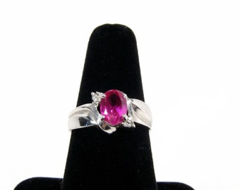 Sterling Silver Lab Created Ruby Ring, Size 7, Vintage Jewelry, Womens Ring, Designer SI, Ladies Ring