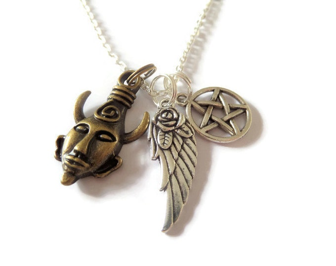 "Supernatural Amulet inspired 3 charm necklace 24"" silver tone chain wing pentagram winchester fan gift jewellery Uk"