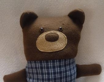 Bear Pillow, Brown Bear, Big Bear, Soft Bear, Snuggle Bear, Fleece Bear,
