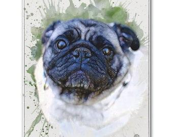 """8"""" X 10"""" Custom Pet Portrait Canvas Wrap (Digital Watercolor Style)"""