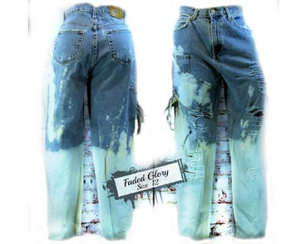 High waisted destroyed jean, distressed blue jeans, reworked jeans, upcycled jeans,  size 12,  # 2