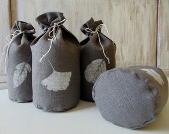 Set of 4, storage bag, Produce bag, Reusable food bag, Bread bag, Vegetable,  Fabric, Gray, Gift bag, Favor bag,