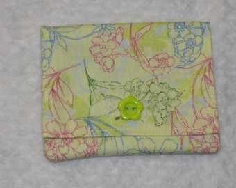 light green fabric credit card and cash holder and wallet