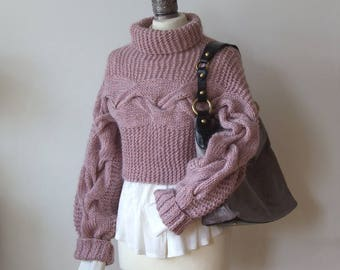 BRAIDED SHRUG in dusty rose, hand knitted shrug, cropped sweater, avant garde sweater, knit sweater, knit jumper, long sleeve shrug