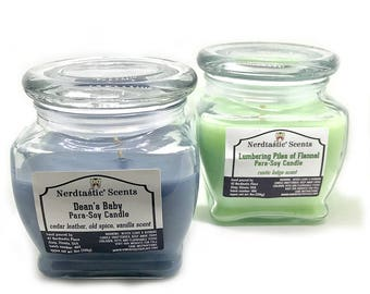 Supernatural Dean Winchester Candle | Dean's Baby | Lumbering Piles of Flannel | Jerk or  Bitch Candle | 8.7oz Scented Candle | Fandom Gift