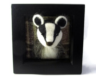 Framed Needle felt Badger brooch / woodland decor/ Badger art jewellery/ Wind in the Willows/ waldorf/ wildlife pin/ woodland animal pin