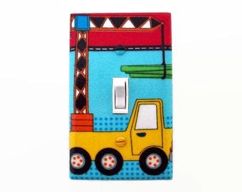 Truck Light Switch Cover - Trucks Switch Plate - Bright Construction Trucks Bedroom - Boys Truck Nursery - Switch Plate - Boys Truck Decor