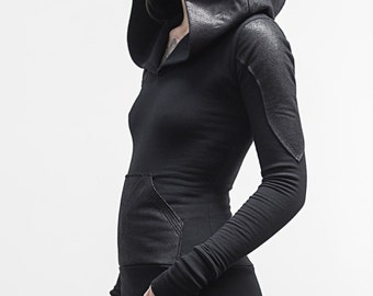 Pullover Doomlord Hooded Sweatshirt / Faux Leather Detail, Women's