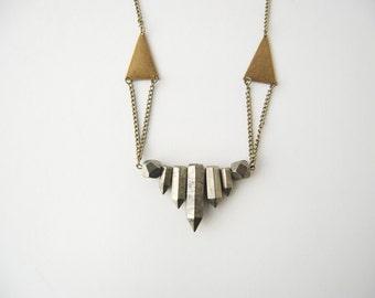 Pyrite Short Collar Necklace (Antiqued Brass)