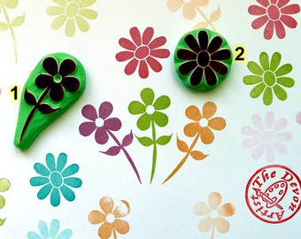 flower rubber stamp, floral rubber Stamp, motif stamp, daisie, garden stamp. gift wrapping. spring crafts, stamp for kids, teacher stamp