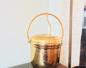 Vintage Brass Ice Bucket Boho Decor Art Deco Mid Century Modern Vintage Barware Vintage Brass Barware United Brass
