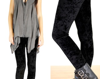 90's Pitch Black Grunge Velvet Leggings