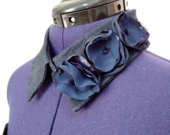 Denim collar with textile flower