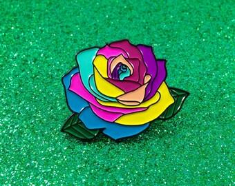 Rainbow Rose - Enamel Pin