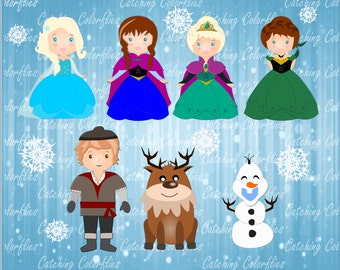 Ice Queen and Snow princess Clip Art Set- Froze Clip art - Ice princess Clip art- Commercial use - Instant download- Digital images