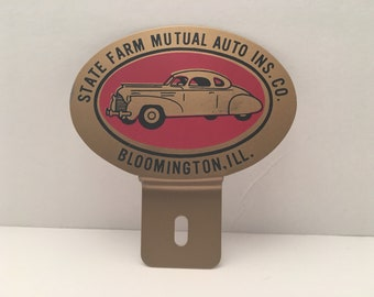 Vintage State Farm License Plate Topper