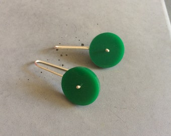 Long Circle Earrings made of Sterling Silver and Grass Green Plexi, Minimalist Silver Jewelry