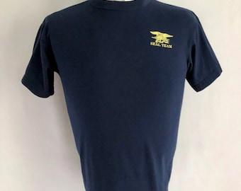 Vintage Men's 90's Seal Team, T Shirt, Navy Blue, Short Sleeve (S)