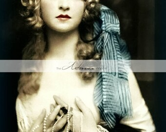 Instant Download Printable Art - Blue Beauty Wench Pirate Woman Tinted Photograph - Altered Art Paper Crafts Scrapbook - Vintage Photography