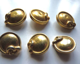 Set of 3 beautiful gold metal, old, vintage buttons, as a rope forming a bow, 2 diameters available, 2 cm and 2.5 cm