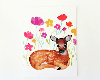 HALF PRICE - Woodland Kitsch Deer, Fawn, Bambi Greeting Card, Birthday Card