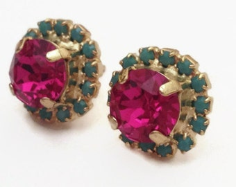 Pink and Turquoise Swarovski Rhinestone Gold Stud Earrings