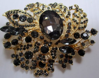 Vintage Pin Brooch// black and gold crystals// unique gift woman mom//new old stock