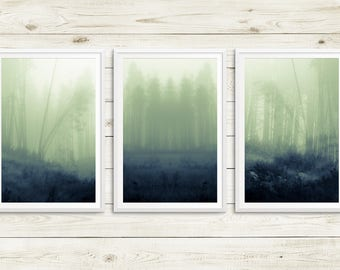 foggy forest triptych, large forest art print set, misty forest art set, green forest art prints, fine art photography, nature photography